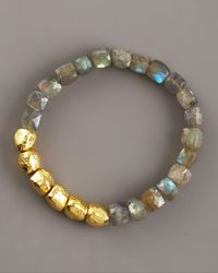 Tai - Blue Hammered Gold & Labradorite Bracelet - Lyst