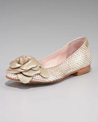 Taryn Rose | Metallic Rosette Snake-embossed Ballerina Flat | Lyst