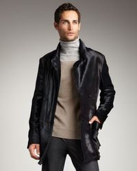 Theory - Gray Double-breasted Pony Hair Jacket for Men - Lyst