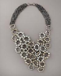 Vera Wang - Metallic Crystal Bib Necklace - Lyst