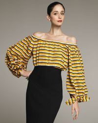 Saint Laurent | Yellow Printed Peasant Blouse | Lyst