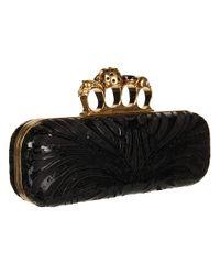 Alexander McQueen | Gold Knuckle Box Clutch | Lyst