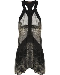 Roberto Cavalli | Multicolor Snake-print Silk-chiffon Dress | Lyst
