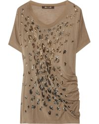 Roberto Cavalli | Brown Sequin Embellished Jersey T-shirt | Lyst