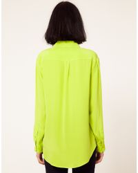 Equipment | Green Equipment Signature Silk Shirt in Lime Punch | Lyst