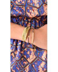 Tai | Blue Woven Gold Bar Charm Bracelet | Lyst