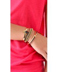 Tai | Orange Woven Gold Bar Charm Bracelet | Lyst