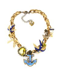 Betsey Johnson - Metallic Nautical Theme Frontal Necklace - Lyst