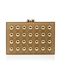 Elie Saab | Metallic Square Clutch with Gold Studs | Lyst