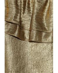 Tory Burch - Metallic One-shoulder Silk-blend Lamé Top - Lyst