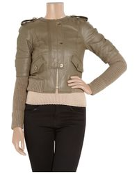 Tory Burch | Brown Wentworth Leather and Wool-blend Jacket | Lyst