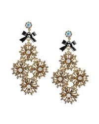 Betsey Johnson | Metallic Crystal Flower Link Gold Tone Chandelier Earrings | Lyst