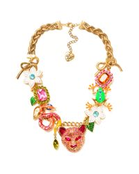 Betsey Johnson | Metallic Tiger Multi Charm Frontal Statement Necklace | Lyst