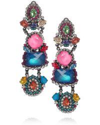 Erickson Beamon | Metallic Modern Mughal Gunmetalplated Swarovski Crystal Clip Earrings | Lyst