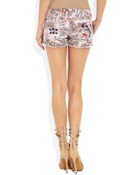 Isabel Marant | Blue Roxi Embroidered Printed Stretch Denim Shorts | Lyst