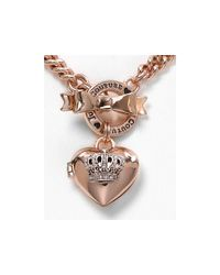 Juicy Couture - Pink Bow Toggle Heart Crown Necklace  - Lyst
