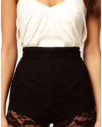 ASOS Collection | Black Asos Bandeau Playsuit with Lace Knicker Shorts | Lyst