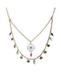 Lucky Brand - Blue Delicate Flower 2 Row Necklace - Lyst