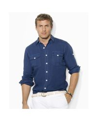 Polo Ralph Lauren - Blue Classicfit Washed Linen Military Shirt for Men - Lyst
