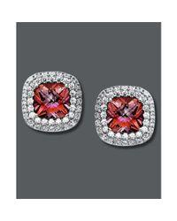 Swarovski - Pink and White Swarovski Zirconia Button Studs  - Lyst