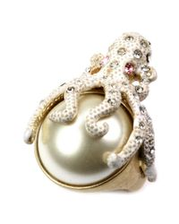 RACHEL Rachel Roy | Metallic Worn Gold Tone Glass Stone Octopus Stretch Ring | Lyst