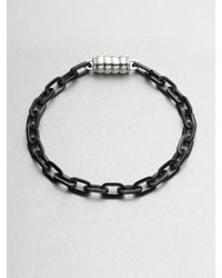 John Hardy | Black Steel Link Magnetic Bracelet for Men | Lyst