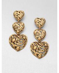 Oscar de la Renta | Metallic Graduated Heart Drop Clipon Earrings | Lyst