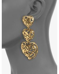 Oscar de la Renta   Metallic Graduated Heart Drop Clipon Earrings   Lyst