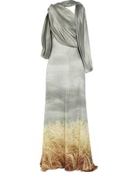 Rodarte | Gray Stormy Wheat Crinkled Silk-chiffon Gown | Lyst