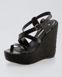 Vera Wang Lavender - Black Pippa Multi-Strap Platform Wedge Sandal - Lyst