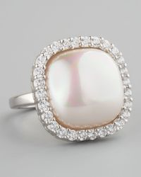 Majorica | Metallic Sterling Silver Pearl Ring 15mm | Lyst