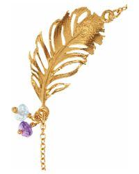 Alex Monroe | Metallic 22 Karat Gold Plated Multistone Feather Bracelet | Lyst