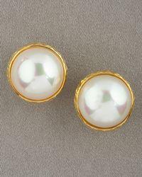 Majorica   Mabe Pearl Earrings, White   Lyst
