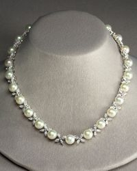 Majorica | White Pearl & Zirconia Butterfly Necklace | Lyst
