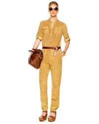 Michael Kors | Yellow Suede Jumpsuit | Lyst