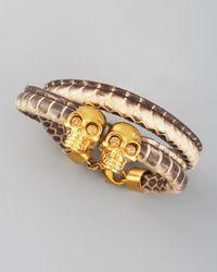 Alexander McQueen - Natural Skull & Leather Bracelet, Sand - Lyst