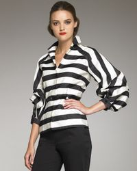 Carolina Herrera - Black Striped Balloon-sleeve Jacket - Lyst