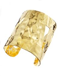 Devon Leigh - Metallic Hammered Gold Cuff - Lyst