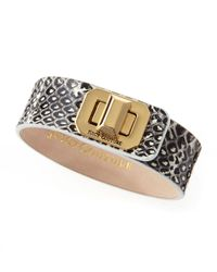 Juicy Couture - Brown Turnlock Leather Cuff Snakeprint - Lyst