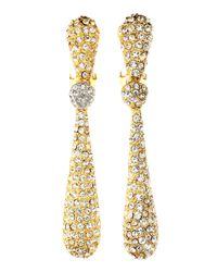 Kenneth Jay Lane | Metallic Pave Rhinestone Drop Clip Earrings | Lyst