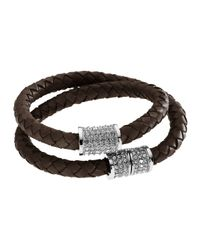 Michael Kors | Brown Doublewrap Braided Leather Bracelet with Pave Detail Chocolate | Lyst