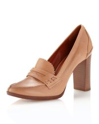 Pour La Victoire | Brown Isla - Luggage Leather High Heel Loafer | Lyst