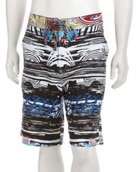 Robert Graham | Black and White Multicolor Wood Grain Patterned Hydroplane Board Shorts for Men | Lyst