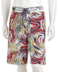 Robert Graham - Blue Red Multicolor Abstract Swirl Jet Ski Board Shorts for Men - Lyst