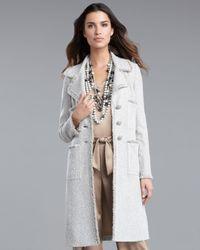 St. John | White Glitterati Tweed Coat | Lyst