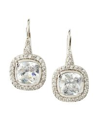 CZ by Kenneth Jay Lane | Metallic Pave Cushioncut Cubic Zirconia Earrings | Lyst