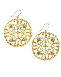 Devon Leigh - Metallic Carved Disc Earrings - Lyst