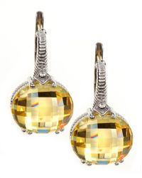 Judith Ripka | Metallic Cubic Zirconia Oval Drop Earrings | Lyst