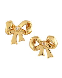 Juicy Couture | Metallic Bow Stud Earrings Golden | Lyst