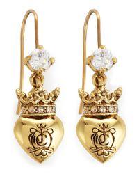 Juicy Couture | Metallic Royal Heart Drop Earrings | Lyst